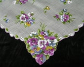 "Vintage 1960's 16"" Scalloped Pansy Floral Wedding Handkerchief or Doily, 9754"