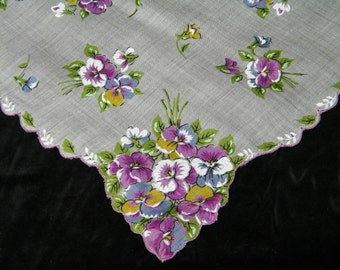 """Vintage 1960's 16"""" Scalloped Pansy Floral Wedding Handkerchief or Doily, 9754"""