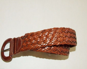 Boho Hip Wide Woven Brown Leather GEOMO Belt-Size Small- Made in Turkey 3907