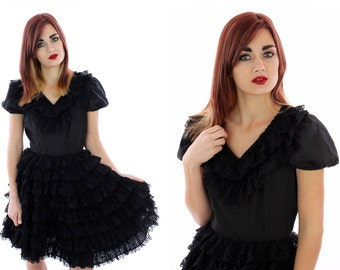 Vintage Sassy Dress Ruffle Babydoll Puffy Sleeves Lace Circle Skirt Black Lolita Square Dance Swing Retro Dolly 1970s Small S Medium M