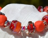Reserve for Patrice-POCKET FULL of POSIES-Handmade Lampwork and Sterling Silver Bracelet