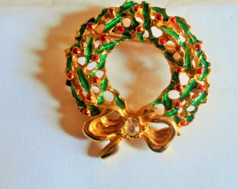 Vintage Holy Christmas Wreath Ribbon Brooch. Holy Berry Pin, Signed