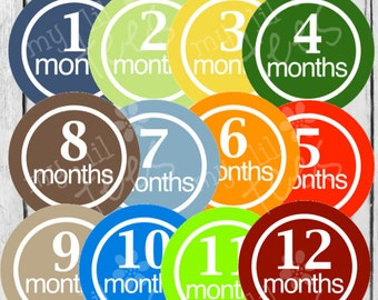 MONTHLY IRON ONS Decals or Monthly Stickers - 12 Monthly iron on heat transfer - for Baby - Color Blast - Gender neutral - Style#C11
