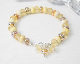 Golden Lampwork and Silver Bracelet