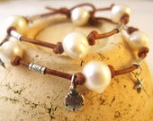 Leather and Pearl Wrap Bracelet, Knotted Leather Jewelry, Knotted Leather and Pearl Bracelet,  Pearl and Leather Bracelet