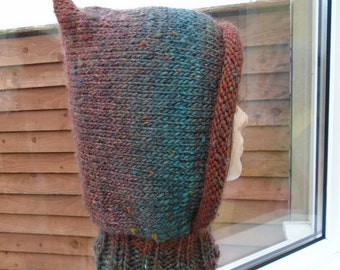 SHADOW elf hood brown blue green aqua wool tweed hat cap an irish granny original wood button