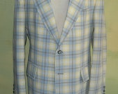 40 L  Long Vintate 70s 80s Blue Gray Yellow White Plaid Cricketeer Jacket Crisp Linen Hep Cat Groovy Marbleized Buttons
