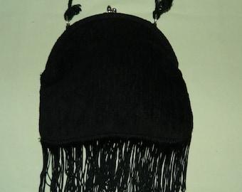60s 70s Designer Lee Stemer Original USA Fringed Black Chenille Boho Round Frame Bag Handbag Purse
