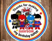 Printable Superhero Stickers, Super Hero Gift Tags, Superhero Birthday party, Digital Superhero Tags