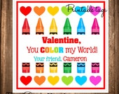 Valentine Gift Tags, Valentine's Day Favor Tags, PRINTABLE Valentine Stickers, You Color my World