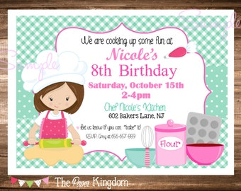 Printable Baking Birthday Invitation, Cooking Birthday Invitation, Baking Birthday Party, Chef Birthday, Choose Your Hair Color