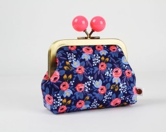 Metal frame coin purse with color bobble - Rosa in navy blue - Color dad / Japanese fabric / Rifle Paper Co. / Les Fleurs