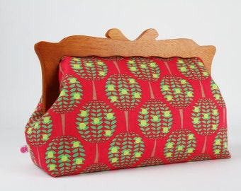 Clutch purse with wooden frame - Citrus trees in azalea - Home purse / Mid century inspired / Minimalist / Elle Luckett Baker / green pink