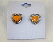 Clear Crystals & Peach Enamel Heart Earrings