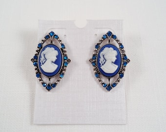 Elegant Blue Rhinestones And Silver Tone Cameo Post Earrings