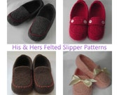 Knitting Patterns PDF -  His and Hers Felted Slippers - College Student - DIY Anniversary Gift - for BULKY weight yarn resell permission