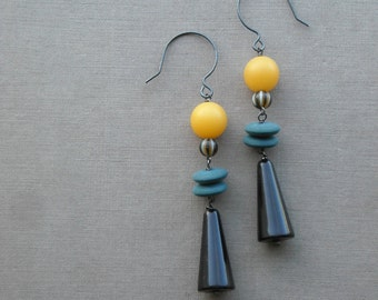 pagliacci earrings - vintage lucite and sterling