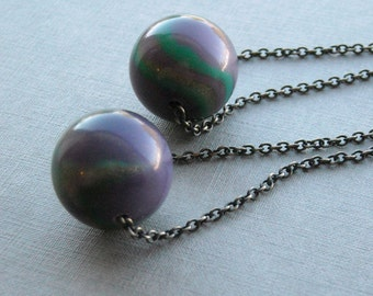 wrecking ball earrings - vintage lucite and brass chain