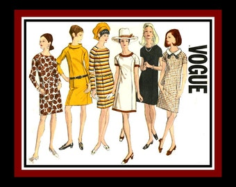 Vintage 1967-Chic MOD Dress-Vogue Sewing Pattern-Six Styles-Neckline Options-Raglan Sleeves- Featured in Vogue Magazine-Uncut-Size 16-Rare