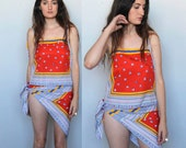 beach baby -- vintage 60s tank and tie-skirt set S/M
