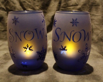 Cobolt blue Snowy snowflake Candle Holders set of 2