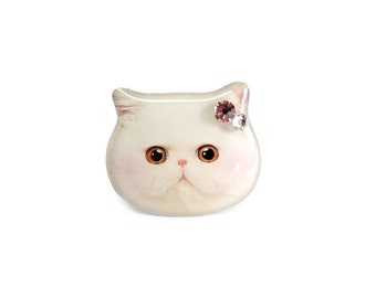 Cute White Persian Cat Kitten with Blush Ring - A0010-R C25 Made to Order