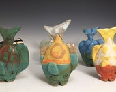RESERVE FOR CANDICE Tiny Table Fish: Tropical Colors Stoneware Art