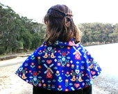 Reversible Red Cape - Dutch Design with Red Cord and Peter Pan Collar Size 1-3 Years