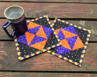 Halloween Mug Rugs Set of 2, Black Orange Purple Snack Mats, Quilted Haloween Mini Placemats