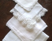 4 Lacy White Vintage Hankies, Handkerchiefs, two cotton, two linen