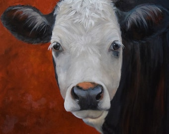 Cow Painting 616, 30x30 Oil On Stretched Canvas, Blanche,Original by Cheri Wollenberg