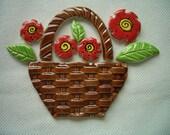 HJ - BASKET of FLOWERS - Ceramic Mosaic Tiles