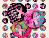 1 inch (25mm) size images PINK RIBBON circles printable digital download for breast cancer awareness for pendants bezel settings magnets,