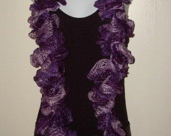 Fashion Infinity Ruffle Scarf Purple Blends/Women's Scarf/Women's Accessories/Ruffle Cowl/Ruffle Neck warmer/Fashion Accessory/Neckwrap
