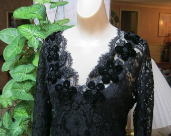 VINTAGE black lace velvet rosettes evening top, dressy black lace velvet beads formal blouse, black lace blouse camisole attached sz M or L