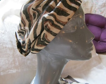 Vintage retro animal print turban style cap, earthtones open top head wrap, tiny glitter tiger striped turban look hat, lounging pool hat