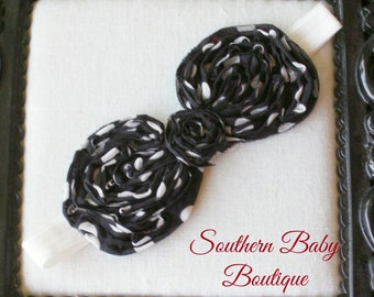 INVENTORY BLOWOUT SALE----Boutique Baby Girl Headband Frayed Chiffon Bow----Black and Ivory----Polka Dot Couture-