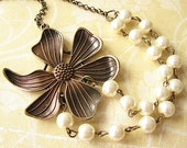 Flower Necklace Statement Necklace Bridesmaid Jewelry Bib Necklace Pearl Jewelry Fall Fashion