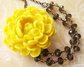 Bridesmaid Jewelry Yellow Flower Necklace Grey Jewelry Bib Necklace Statement Necklace Fall Fashion Gift For Her