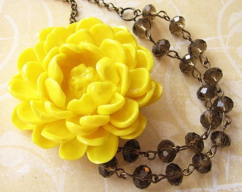 Bridesmaid Jewelry Yellow Flower Necklace Grey Jewelry Bib Necklace Statement Necklace Crystal Necklace Gift For Her