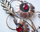 Vintage Van Dell Gold-Filled Rhinestone Brooch 1940s - 1/20 12K Gold over Sterling Silver w/ Red Rhinestones - Flowers Leaves Curlicues Bow