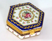 Vintage Porcelain Hand-Painted Trinket Box - Gold Gilt Hexagonal Box - Crossed Arrows Mark, Possibly Kalk - Floral Roses Design - Tiny Box