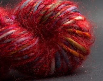Carnival, Polwarth-Silk yarn wrapped with Mohair-silk, Art Yarn, HandSpun HandDyed Yarn, 40 yards