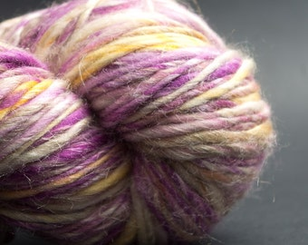 Faerie, HandSpun and Hand dyed Yarn, Silk, Flax and Merino, heavy worsted Single, 95 yards