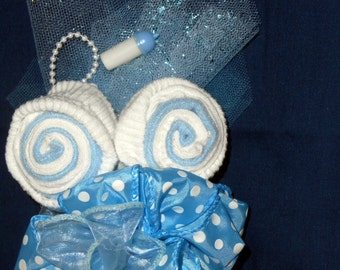 Baby Shower Corsage Blue New Socks Boy's for Mother To Be Father Boutonniere Grandmothers