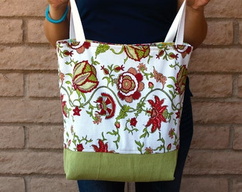 Red and Green Floral Bag or Tote Lined Tote Cotton Tote Red Floral Bag Cotton Bag