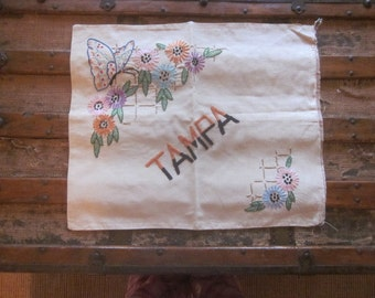 Antique Tampa Heavily Embroidered Pillow Cover