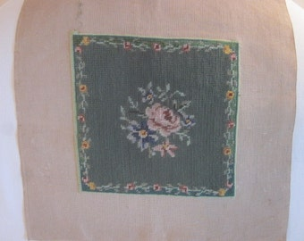 Vintage Needlepoint with Floral Design in Green