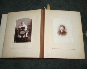 Antique 1800s Victorian Worn Velvet Photo Album with 58 Cabinet Cards Most Identified