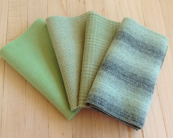 "Hand Dyed Wool Felt, PISTACHIO, Four 6.5"" x 16"" pieces in Soft Celadon Greens, Perfect for Rug Hooking, Applique' and Crafting"